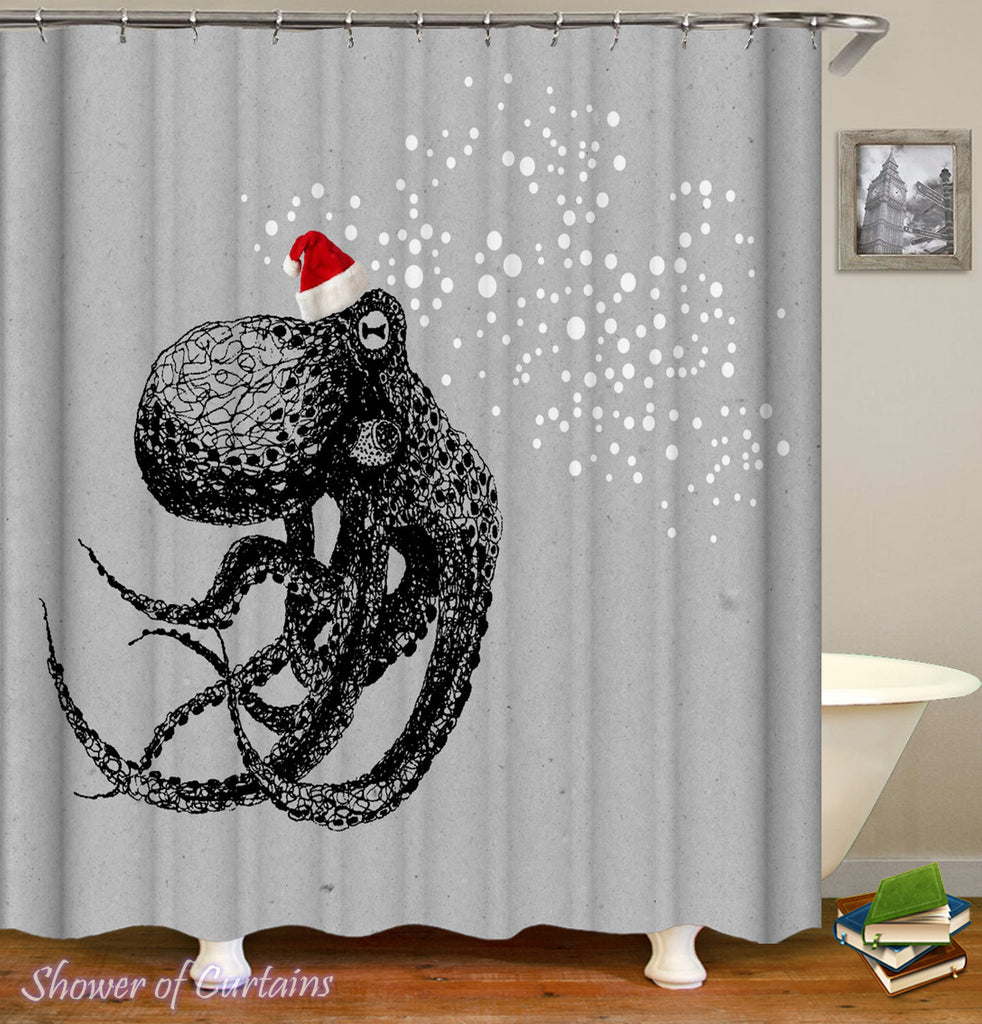 Octopus Shower Curtain of Christmas Spirit Octopus