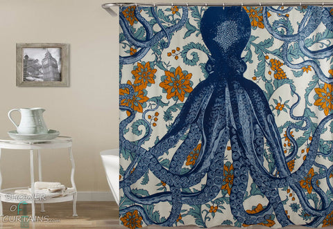Octopus Shower Curtains of Octopus Vintage Colors