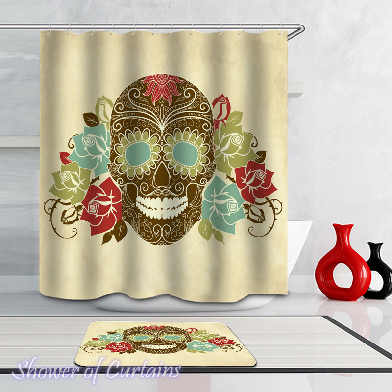 Olive Green Skull shower curtain