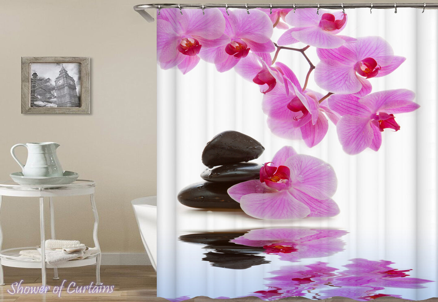 Shower curtains orchid pink shower of curtains orchid pink flower shower curtain mightylinksfo