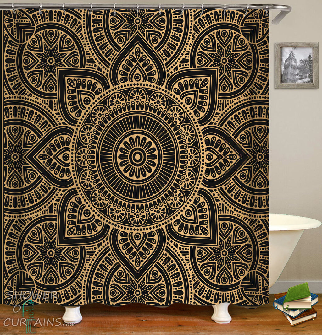 Oriental Mandala Shower Curtain - Oriental Bathroom