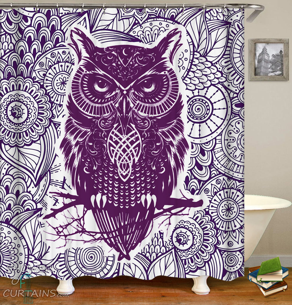 Oriental Purple Owl Shower Curtain