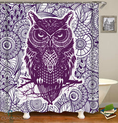 oriental-purple-owl-shower-curtain