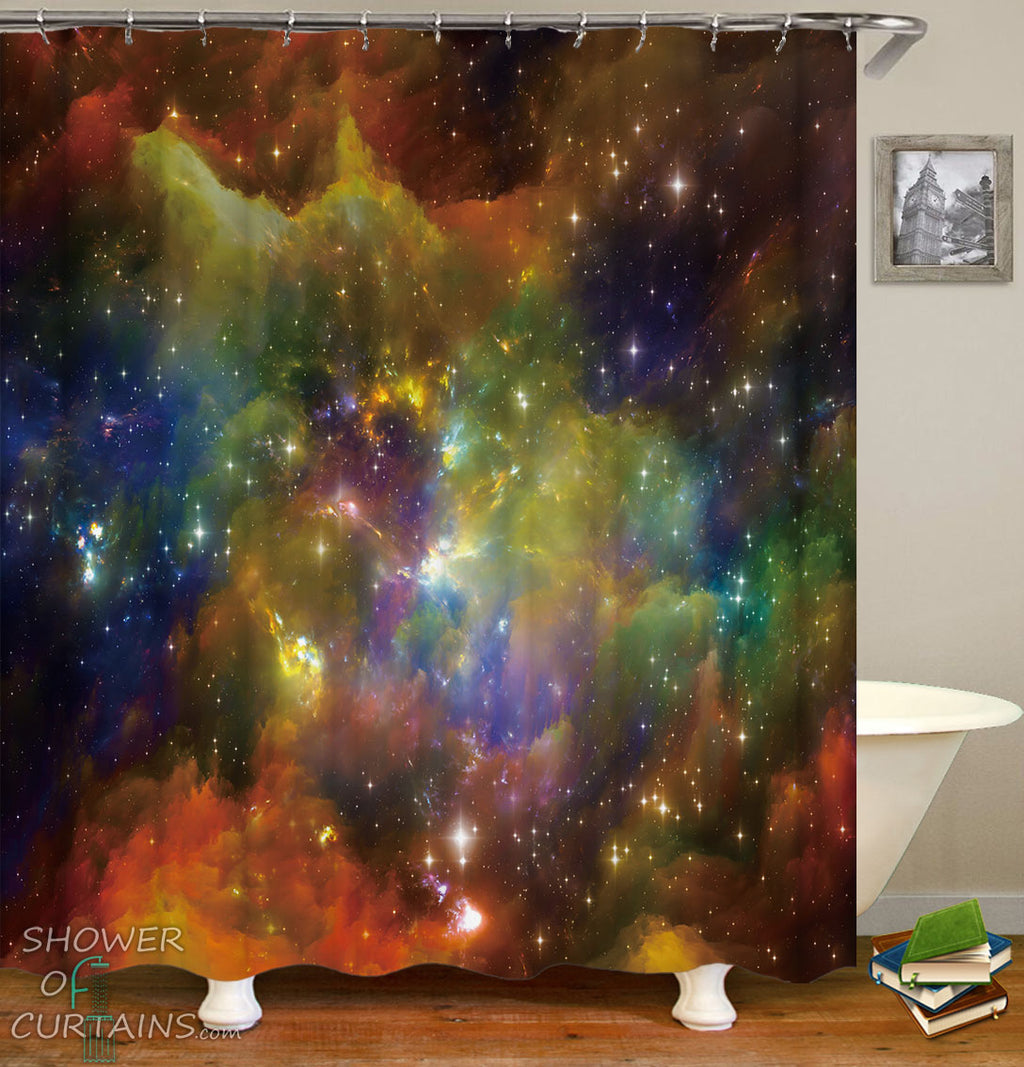 Outer Space Shower Curtain - Colorful Space