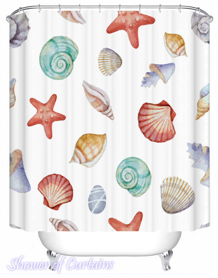 Painted Seashells Shower Curtain