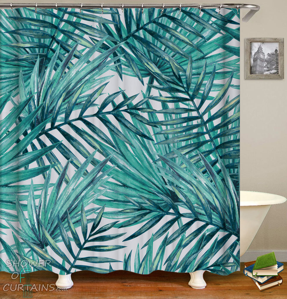 Palm Shower Curtain - Palm Leaves Painting