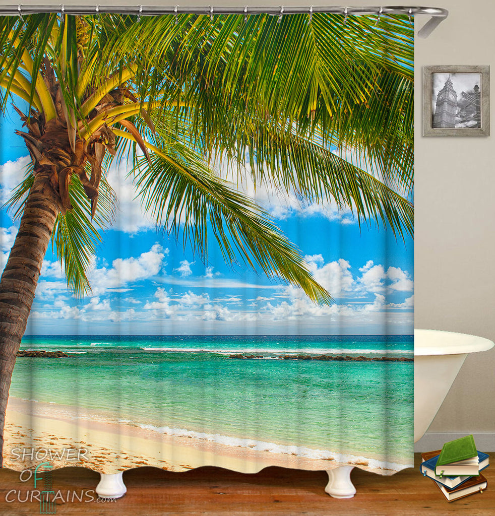Palm Tree Beach Shower Curtain - Sunny Beach Day