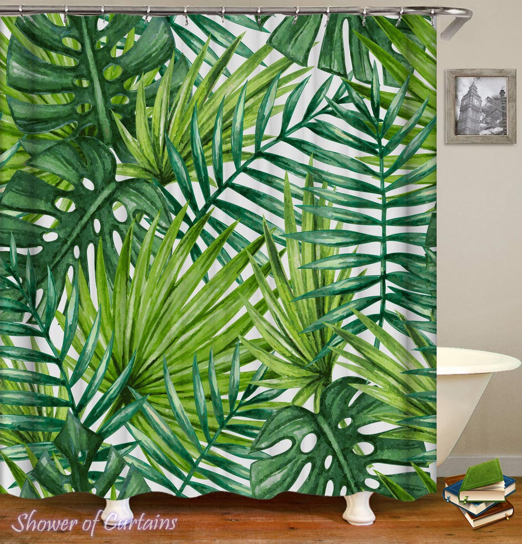 Palm Tree Leaves Shower Curtain - Tropical Themed Bath
