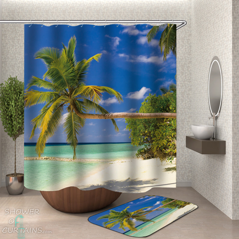 Palm Tree Shower Curtain - Horizontal Palm Tree