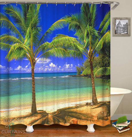 Palm Tree Showr Curtain - Palm Trees Duet
