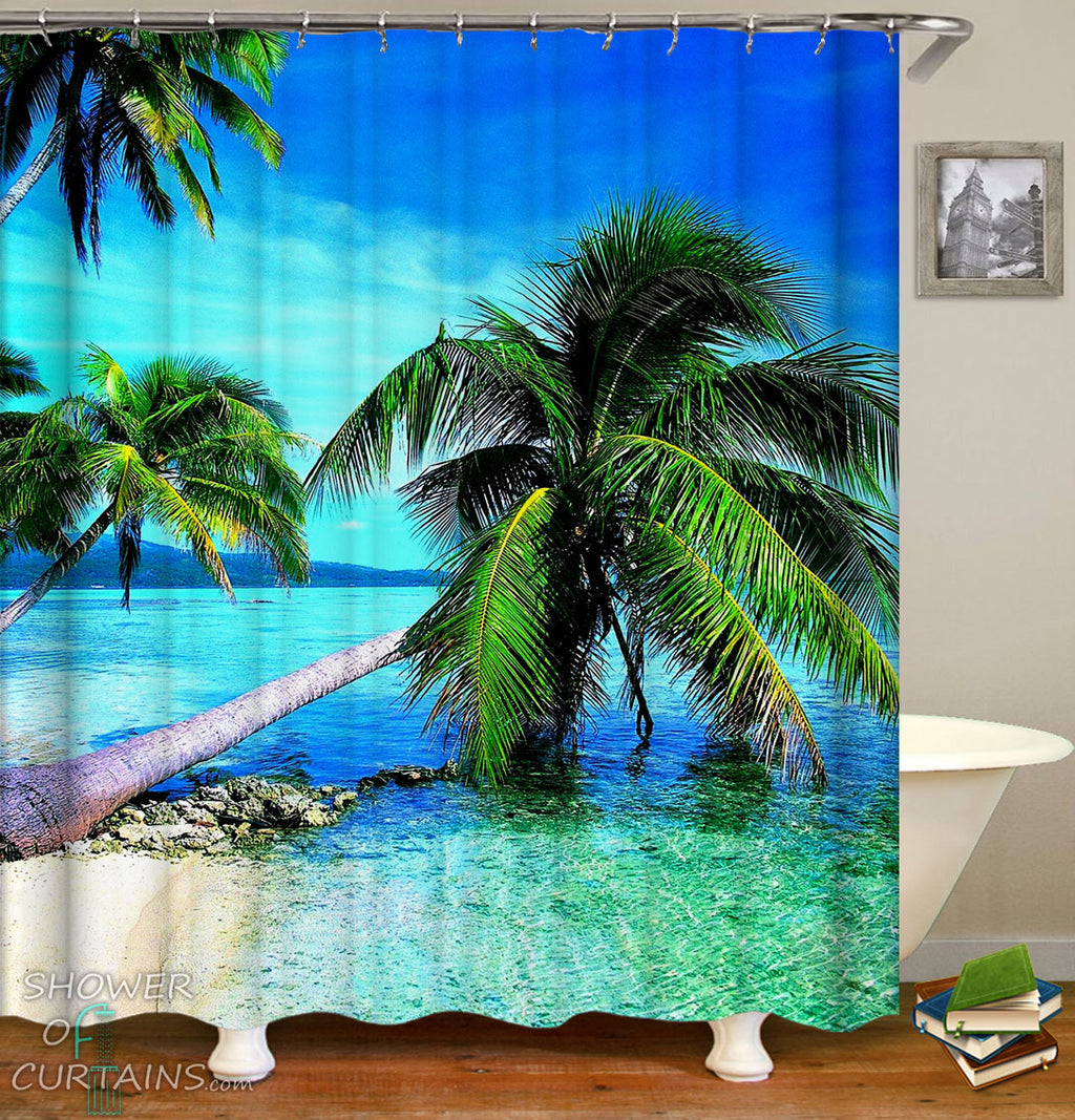 Palm Trees Beach Shower Curtains