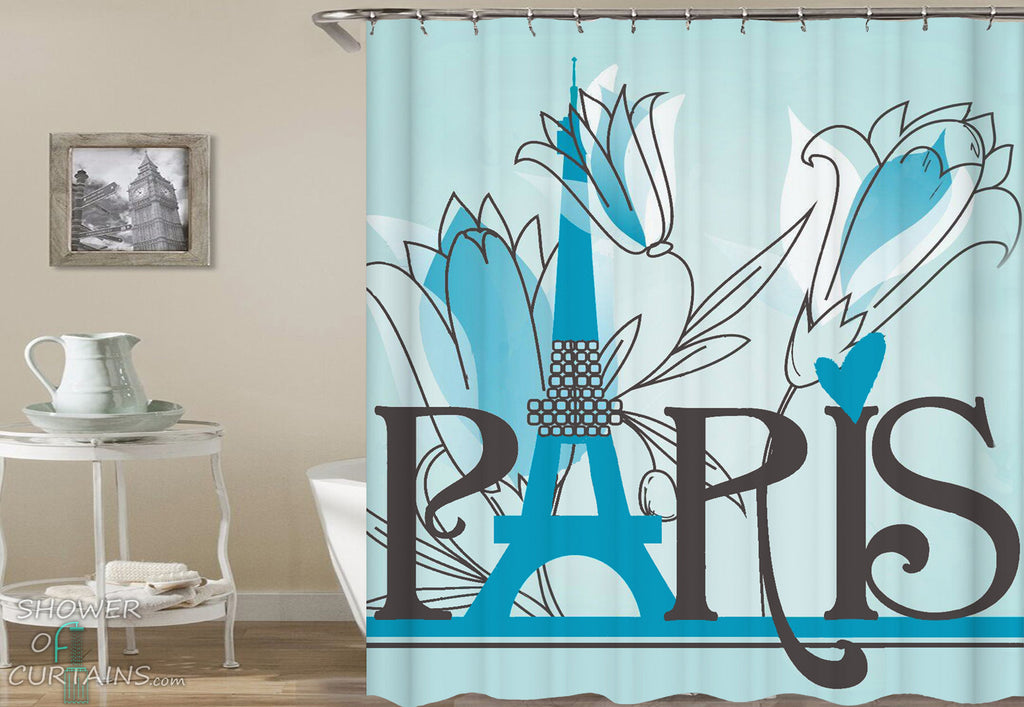 Paris Eiffel Tower Shower Curtain