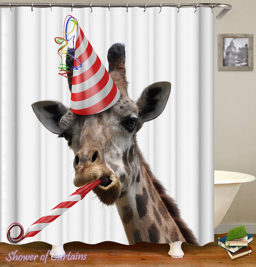 Partying Giraffe shower curtain