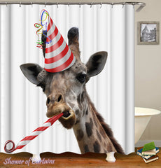 partying-giraffe-shower-curtains