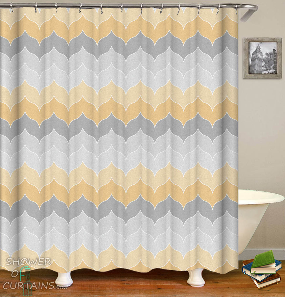 Pastel Grey Yellow Shower Curtain
