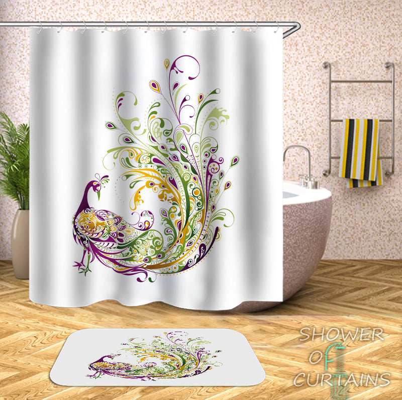 Peacock Shower Curtain - Green Yellow Purple