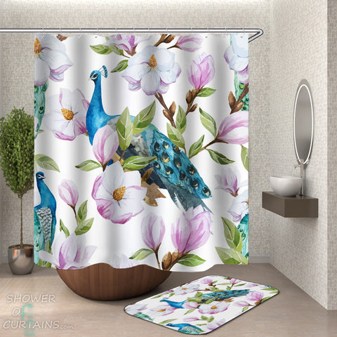 Peacock Shower Curtain - Turquoise Peacock And Flowers