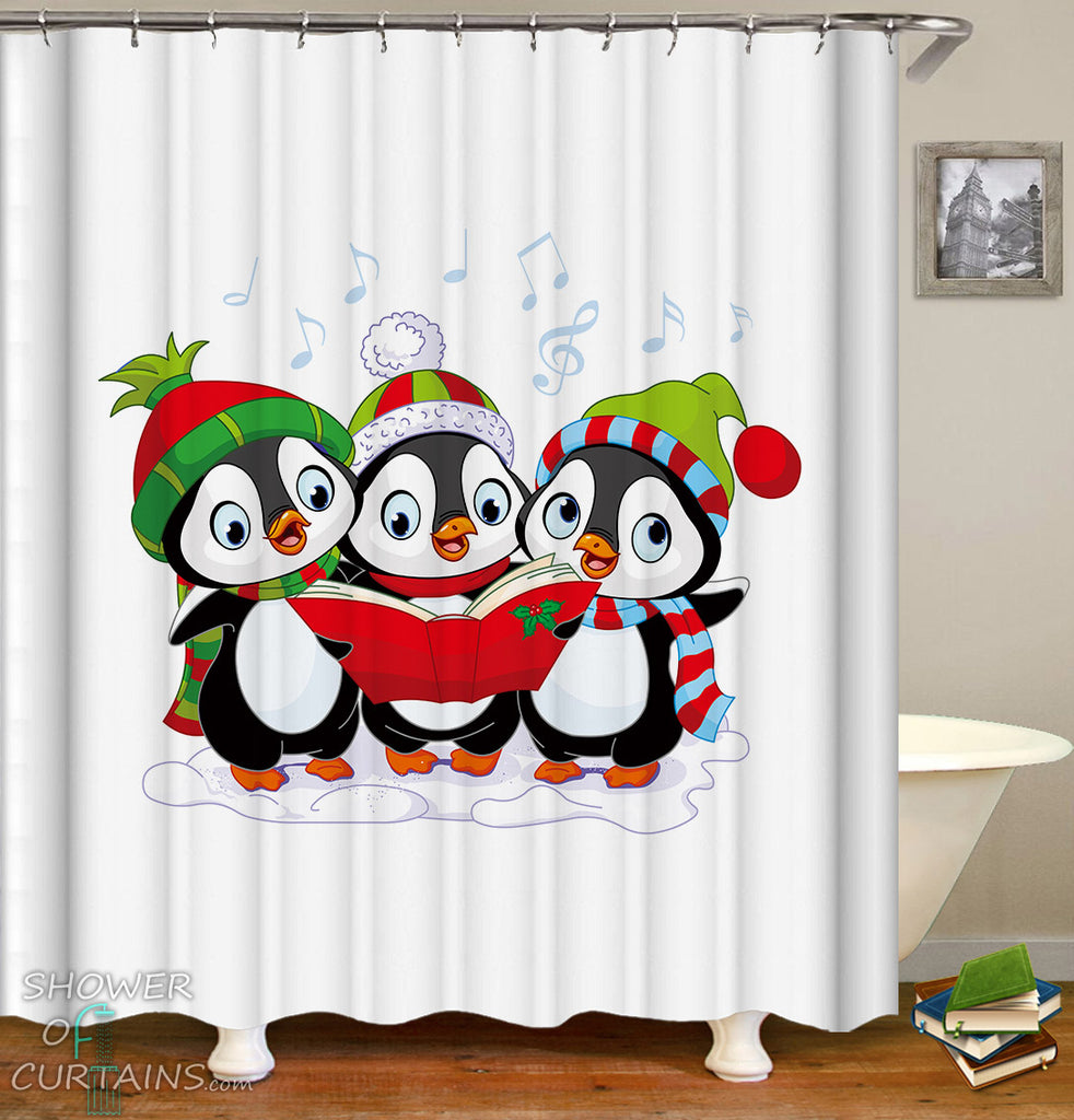 Penguins Shower Curtains of Penguins Christmas Band