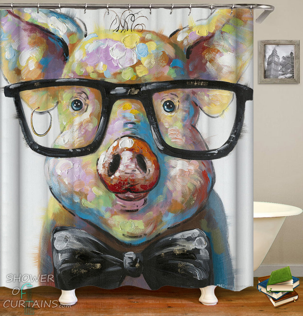 Pig Shower Curtain of Hipster Piggy