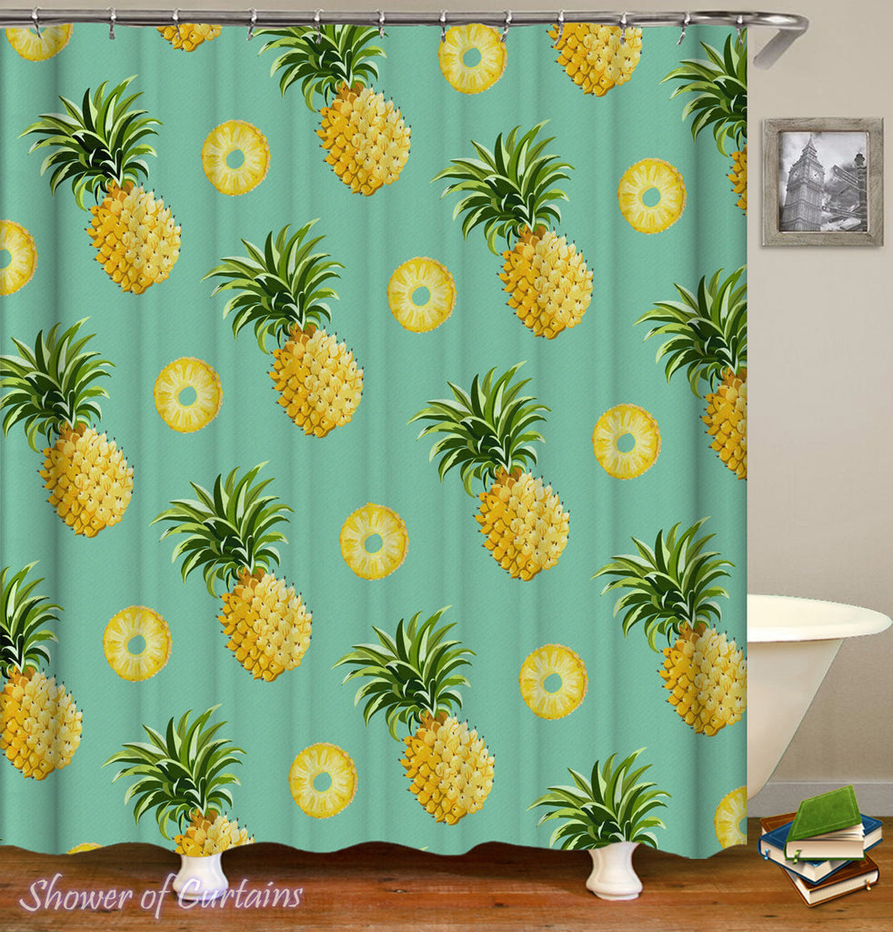 Pineapple Shower Curtain - Pineapples And Pineapples Cuts