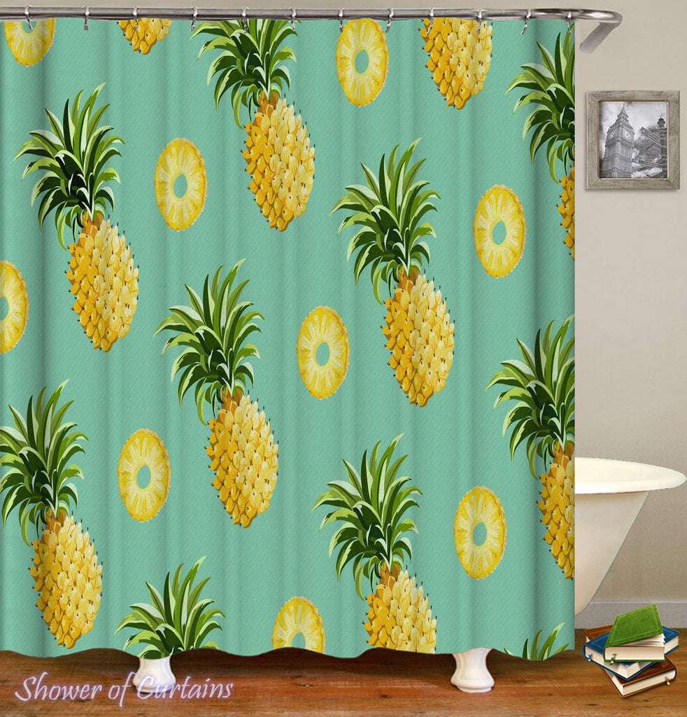 Pineapple Shower Curtain of Pineapples And Pineapples Cuts 0.5
