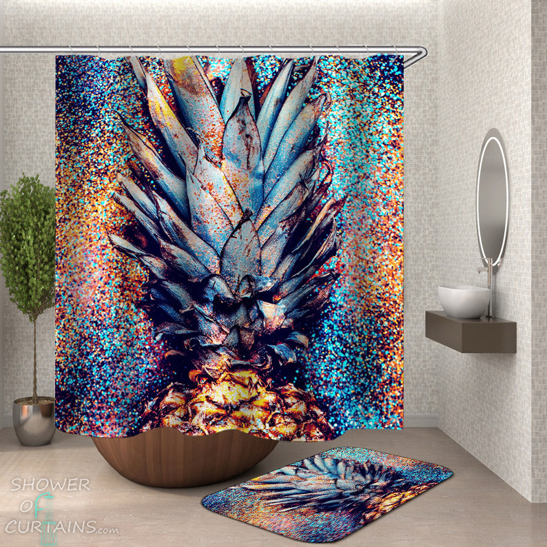 Pineapple Shower Curtains and Bath Mat - Pineapple Crown