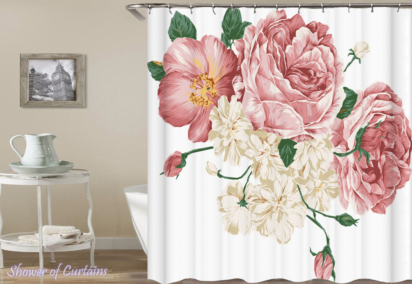 Exceptionnel Pink And White Fresh Flowers Print Shower Curtains