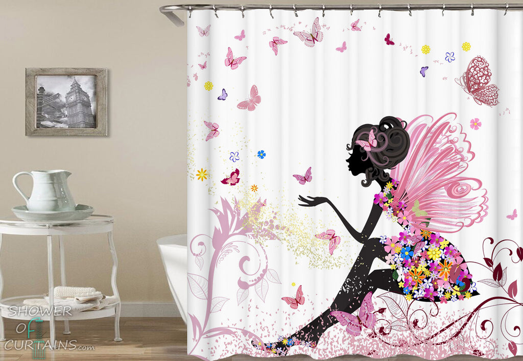 Pink Girl Shower Curtain of Butterflies' Fairy