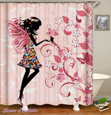 Pink Shower Curtain - Girly Black Figure Over Pink Bathroom