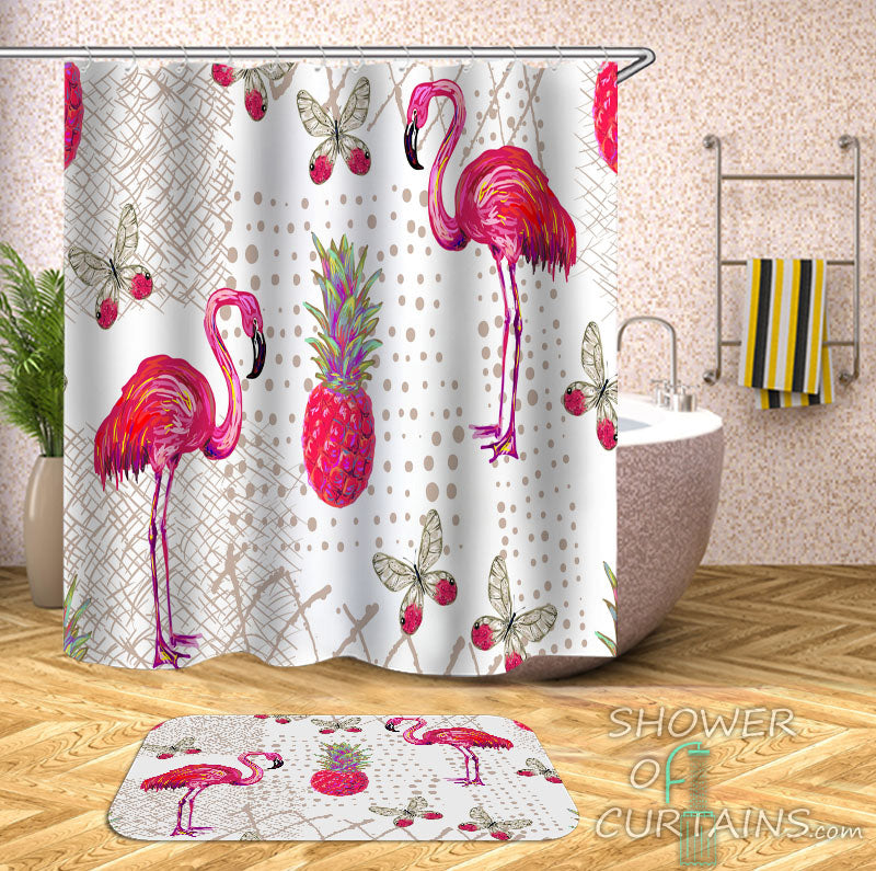 Pink Shower Curtain of Rich Pink Flamingo Pineapple And Butterflies