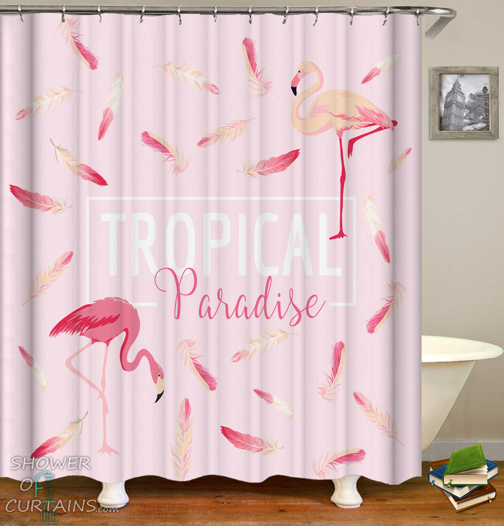 Pink Shower Curtain of Tropical Paradise Flamingo Shower Curtain