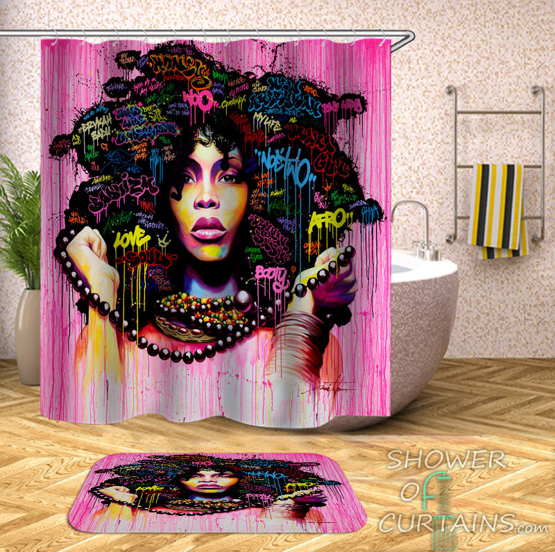 Pinkish Afro Woman Shower Curtain