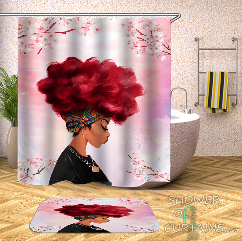 Pinkish Beautiful Black Girl Shower Curtain And Bath Mat