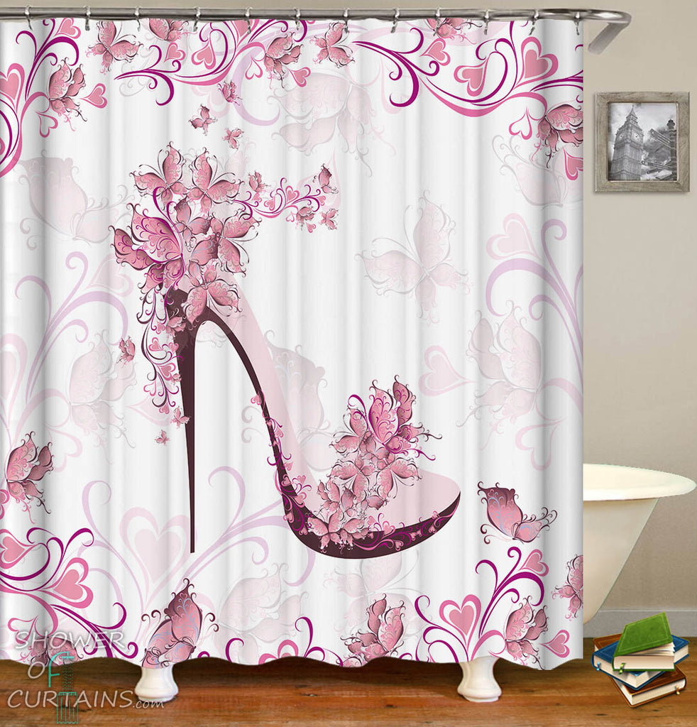 Pinkish Floral heels Shower Curtain - Girl Bathroom