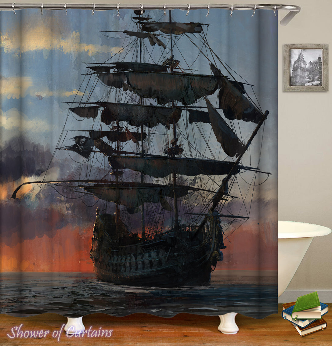 delightful Pirate Shower Curtain Part - 6: Pirate Shower Curtain - Old Style Pirate Ship