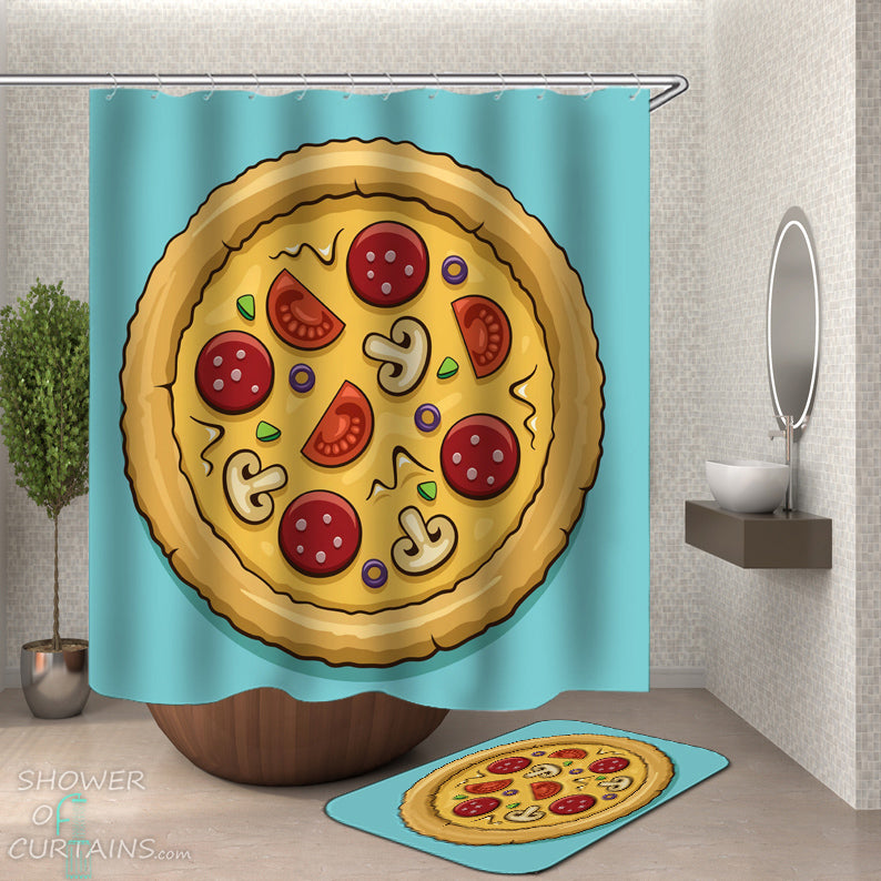 Pizza Shower Curtain - Cool Shower Curtains