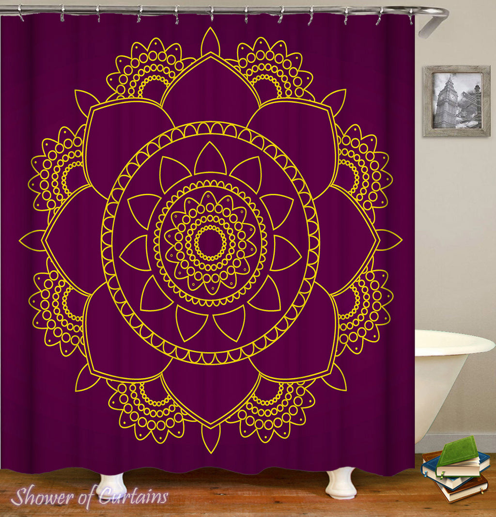 Purple Background With Mandala Shower Curtain