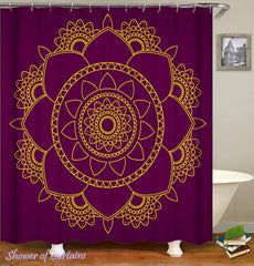 mandala shower curtain with purple background