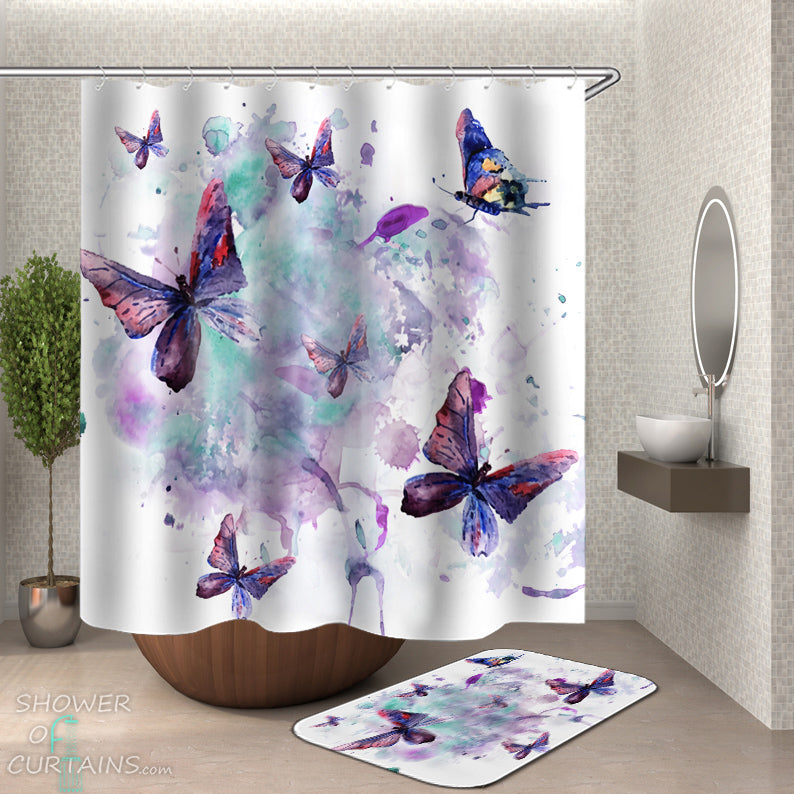 Purple Butterfly Shower Curtain of Watercolor Painting Butterflies