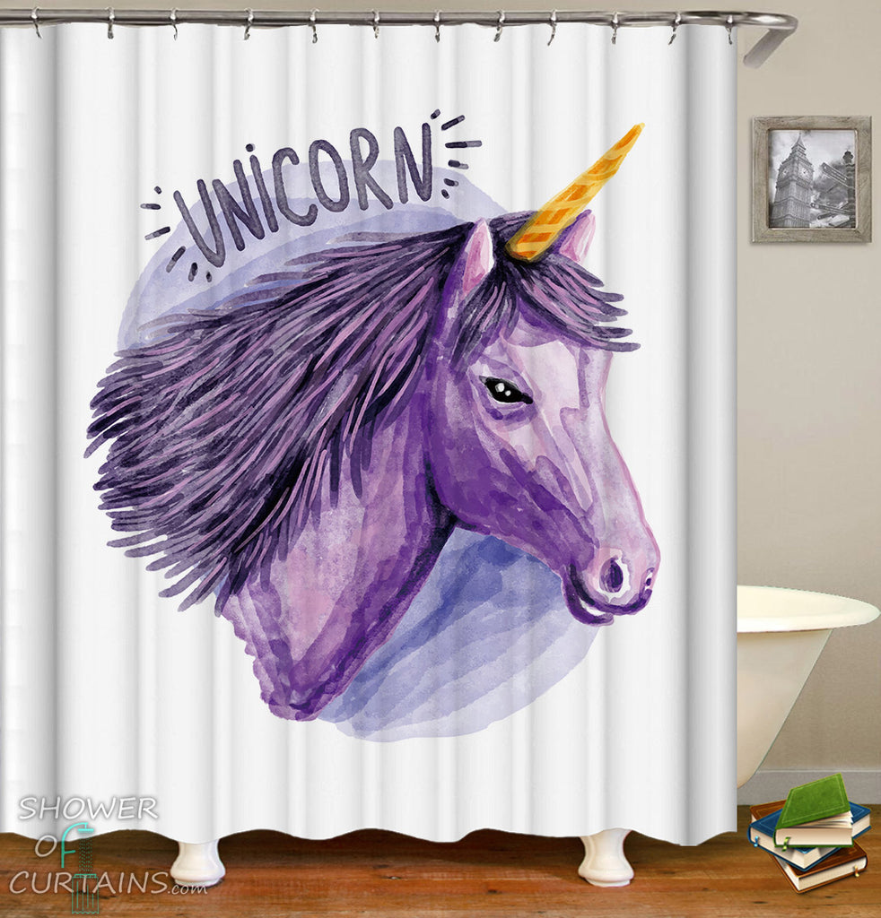 Purple Drawing Unicorn Shower Curtain