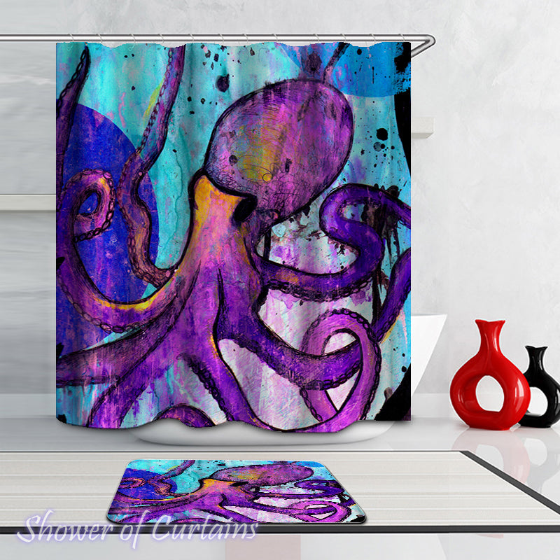 Purple Octopus Shower Curtain - Art Shower Curtain