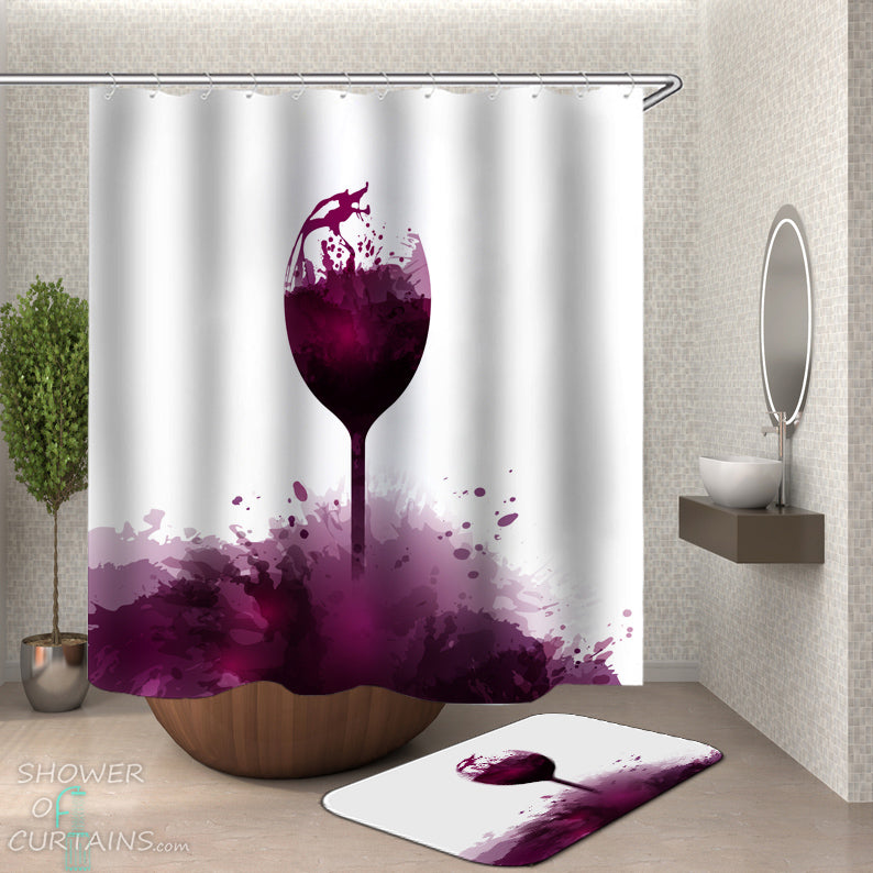 Purple Shower Curtain - Artistic Wine Color Splash