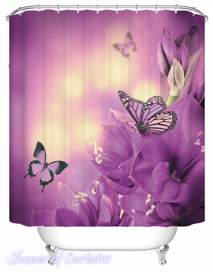 Purple Shower Curtain of Flowers And Butterflies In Purple