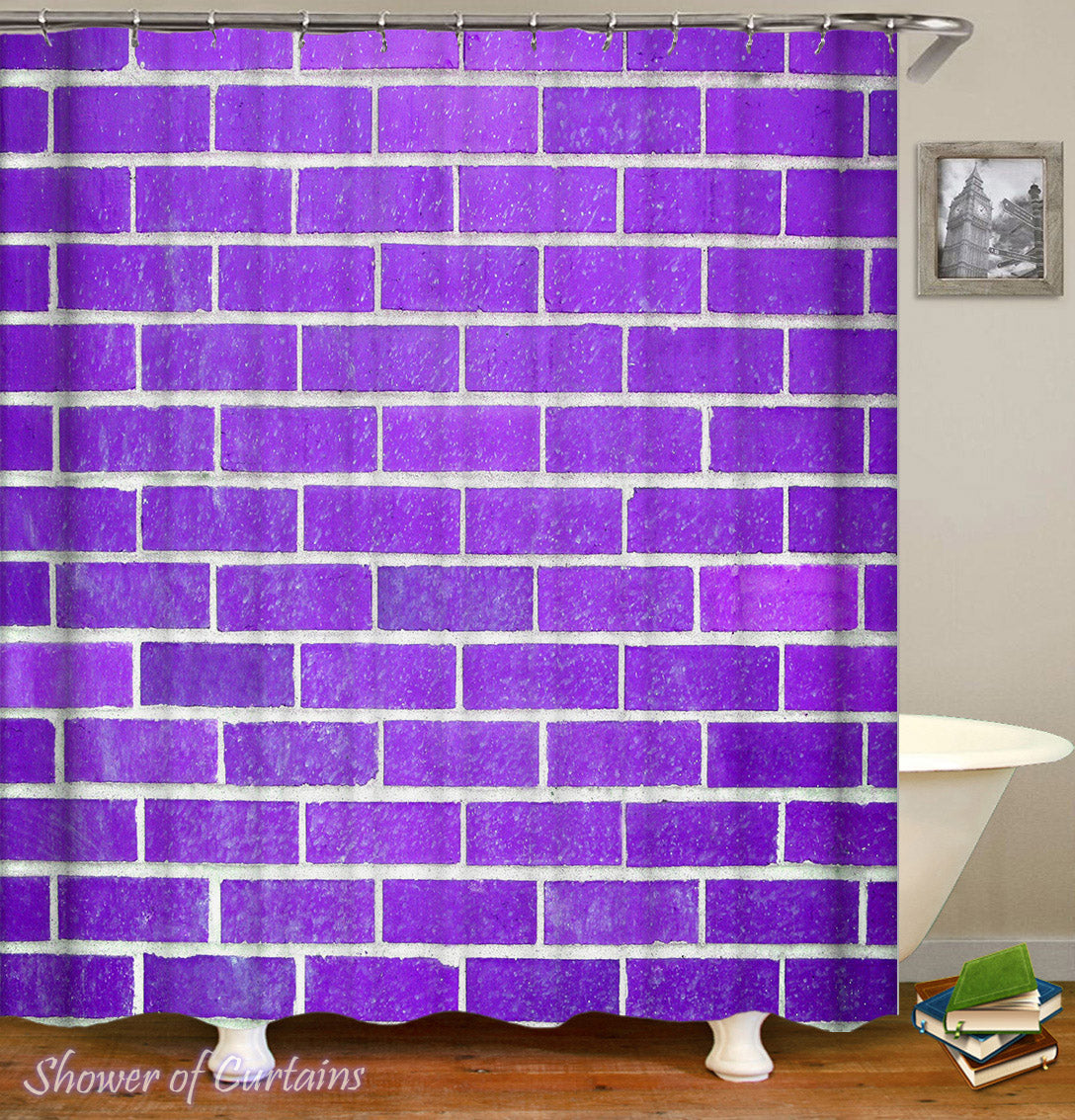 Purple Shower Curtain Of Brick Wall