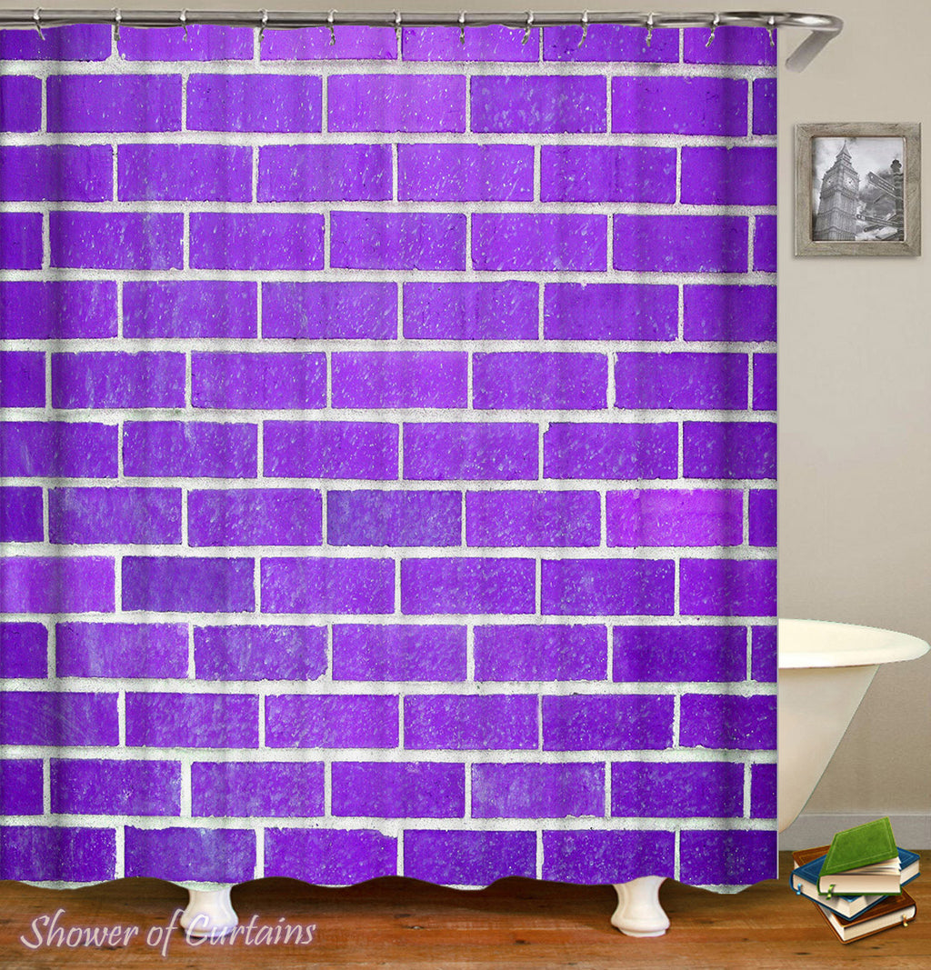 Purple Shower Curtain of Purple Brick Wall