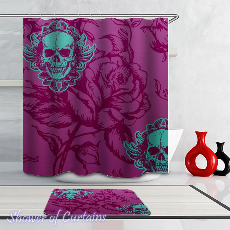 Purple Skull Shower Curtain of Purple Rose And Skulls