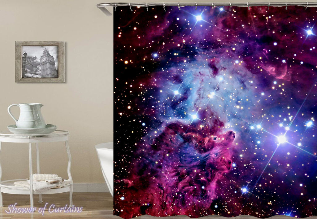 Purple Space Shower Curtain