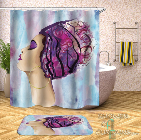 Purplish African Woman Shower Curtain