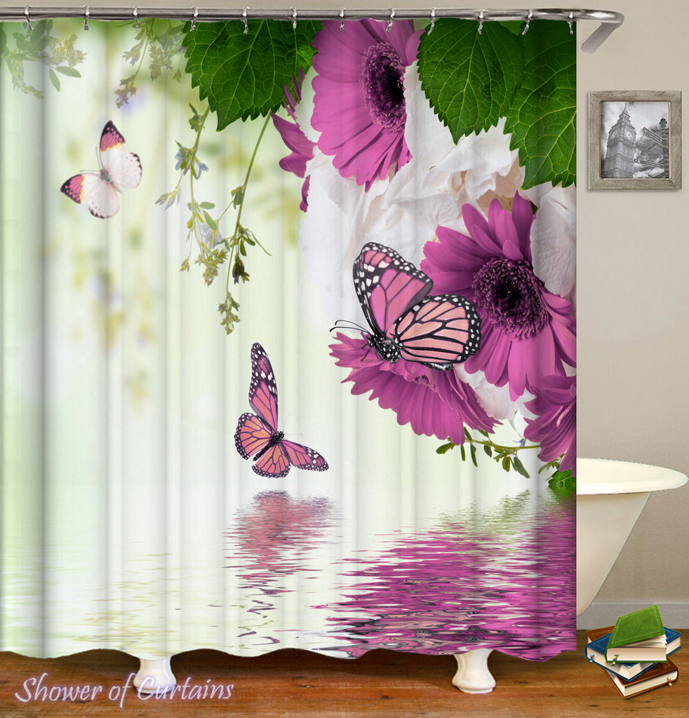 purple shower curtain design Purplish Flowers And Butterflies