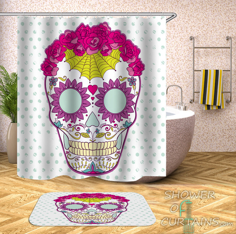 Purplish Sugar Skull Shower Curtain